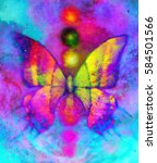 butterfly with light energetic... | Shutterstock . vector #584501566