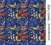 seamless vintage pattern with... | Shutterstock .eps vector #584517406