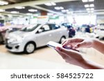 man use mobile phone  blur... | Shutterstock . vector #584525722