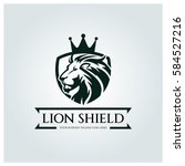 lion shield logo design... | Shutterstock .eps vector #584527216