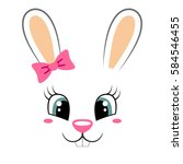 cute bunny with pink bow.... | Shutterstock .eps vector #584546455