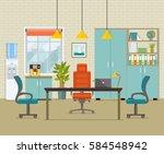 modern office interior. vector... | Shutterstock .eps vector #584548942