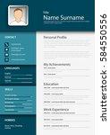 professional blue resume cv...   Shutterstock .eps vector #584550556