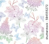 beautiful seamless pattern with ... | Shutterstock .eps vector #584555272
