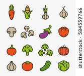 vegetables organic vegetarian... | Shutterstock .eps vector #584559766