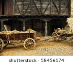 Wooden Cart With Dried Hay In...