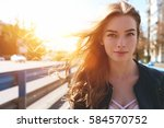 portrait of happy smiling woman ... | Shutterstock . vector #584570752