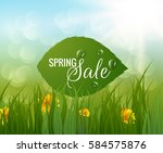 spring background with green... | Shutterstock .eps vector #584575876