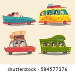 traveling by car  cabriolet ... | Shutterstock . vector #584577376