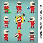 set of colorful racing... | Shutterstock .eps vector #584589745