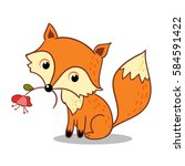 Stock vector fox is holding a flower in his mouth vector illustration of forest animals in the children s style 584591422