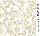 seamless lace flowers on beige. ...   Shutterstock .eps vector #584591512
