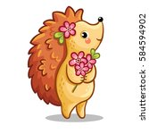 cute hedgehog with bouquet of... | Shutterstock .eps vector #584594902