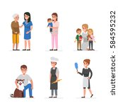 people of different home care... | Shutterstock .eps vector #584595232