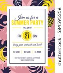 summer party invitation with... | Shutterstock .eps vector #584595256