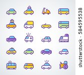 vehicle icon vector set. modern ... | Shutterstock .eps vector #584595538
