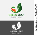 green leaf logo with red leaf... | Shutterstock .eps vector #584603602