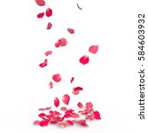 Stock photo rose petals fall to the floor isolated background 584603932