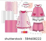 infant toddler girls' fashion... | Shutterstock .eps vector #584608222