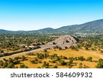 pyramid of the moon with plaza... | Shutterstock . vector #584609932