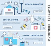 medical banners set. concept... | Shutterstock .eps vector #584610466