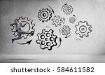 running businessman on... | Shutterstock . vector #584611582