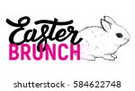 easter brunch invitation card... | Shutterstock .eps vector #584622748