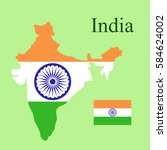 republic of india map flag... | Shutterstock . vector #584624002