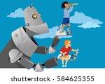 giant robot holding little kids ... | Shutterstock .eps vector #584625355
