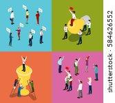 isometric business people.... | Shutterstock .eps vector #584626552