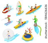 isometric people on water... | Shutterstock .eps vector #584626636