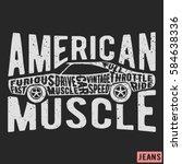t shirt print design. american... | Shutterstock .eps vector #584638336