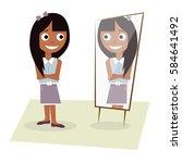 happy young girl standing in... | Shutterstock .eps vector #584641492