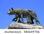 she wolf suckling romulus and... | Shutterstock . vector #584649706