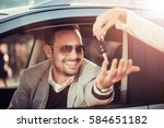 car dealership.young man... | Shutterstock . vector #584651182