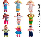 Small photo of Set of doll isolated on white background.