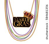 mardi gras beads and necklace.... | Shutterstock .eps vector #584681356