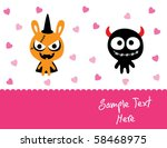 love couple monster doodle | Shutterstock .eps vector #58468975
