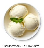 bowl of vanilla ice cream... | Shutterstock . vector #584690095