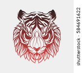 abstract head tiger hand draw | Shutterstock .eps vector #584691622