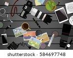 workspace of photographer. top... | Shutterstock .eps vector #584697748