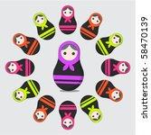 roundelay of russian matrioshka ... | Shutterstock .eps vector #58470139