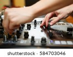 disc jockey mix music tracks on ... | Shutterstock . vector #584703046