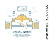 vector bedroom interior design... | Shutterstock .eps vector #584704222