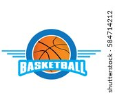 isolated basketball emblem with ... | Shutterstock .eps vector #584714212
