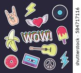 fashion patch badges. set of... | Shutterstock .eps vector #584717116