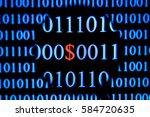 computer screen with binary...   Shutterstock . vector #584720635