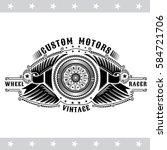 motorbike wheel between wings... | Shutterstock .eps vector #584721706