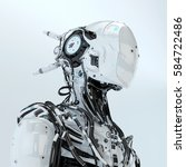 futuristic robotic wired pilot... | Shutterstock . vector #584722486