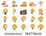 a vector illustration of anime... | Shutterstock .eps vector #584728606